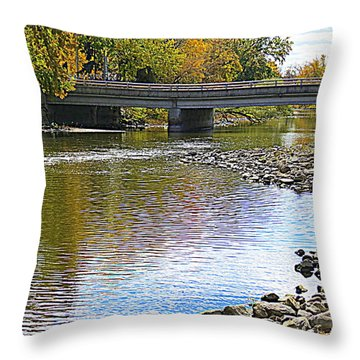 Autumn Along The Fox River Throw Pillow