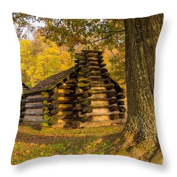 Throw Pillow featuring the photograph Autumn And The Huts At Valley Forge by Rima Biswas