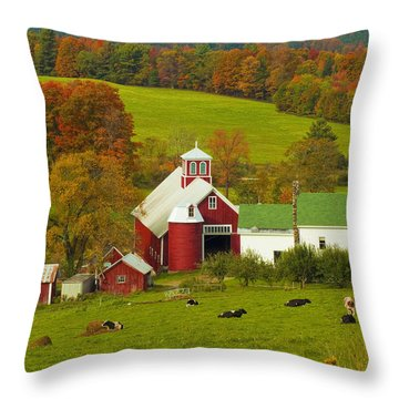 Autumn At Bogie Mountain Dairy Farm Throw Pillow