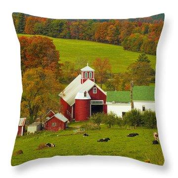 Autumn At Bogie Mountain Dairy Farm Throw Pillow