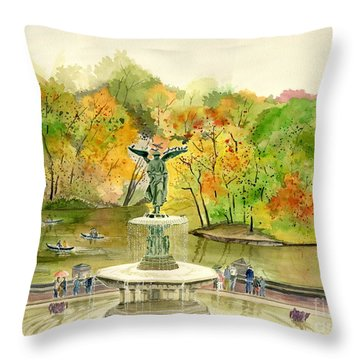 Autumn At Central Park Ny Throw Pillow