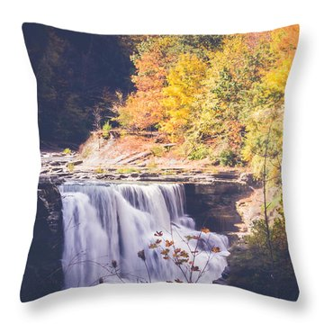 Autumn At Letchworth Throw Pillow by Sara Frank