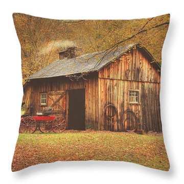Autumn At Millbrook Village -the Blacksmith Shop Throw Pillow