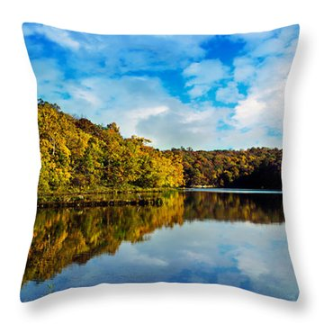 Autumn At Sailboat Cove Throw Pillow by Andee Design