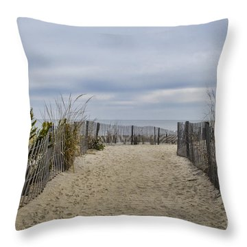 Autumn At The Beach Throw Pillow by Judy Wolinsky