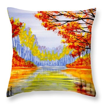 Autumn At The Lake Throw Pillow by Darren Robinson