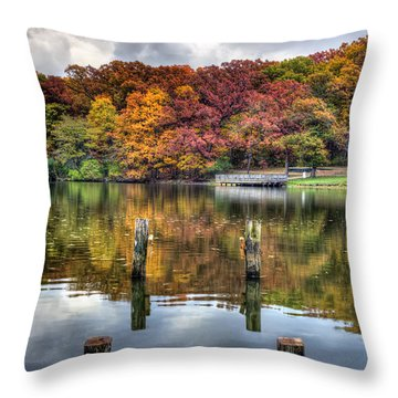Autumn At The Pond Throw Pillow