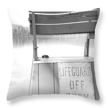 Autumn At White Lake Bw Throw Pillow