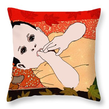 Throw Pillow featuring the painting Autumn Baby 2 by Jann Paxton