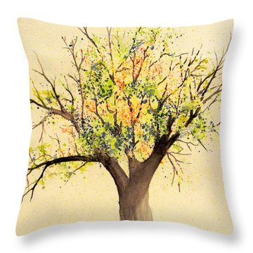 Autumn Backyard Tree Throw Pillow