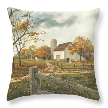 Autumn Barn Throw Pillow by Michael Humphries
