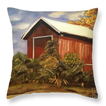 Autumn - Barn - Ohio Throw Pillow