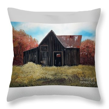 Autumn - Barn -orange Throw Pillow