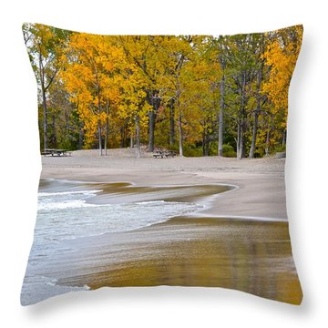 Autumn Beach Throw Pillow by Frozen in Time Fine Art Photography