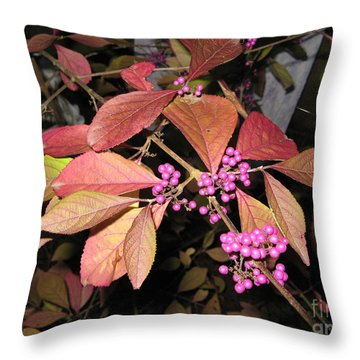 Autumn Beauty Berry Throw Pillow by Marlene Rose Besso