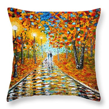Autumn Beauty Original Palette Knife Painting Throw Pillow