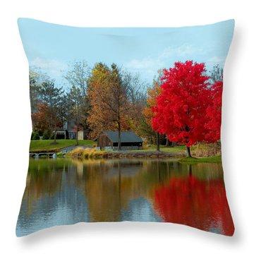 Autumn Beauty On A Pond Throw Pillow