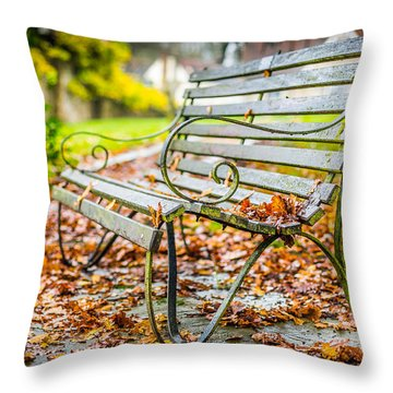 Throw Pillow featuring the photograph Autumn Bench by Gary Gillette