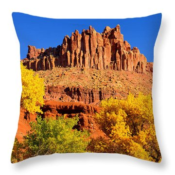 Autumn Beneath The Castle Throw Pillow