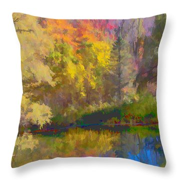 Autumn Beside The Pond Throw Pillow by Don Schwartz