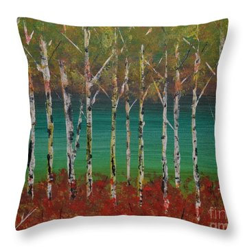 Throw Pillow featuring the painting Autumn Birches by Denise Tomasura