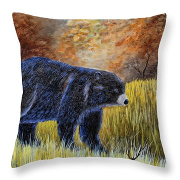 Autumn Black Bear Throw Pillow