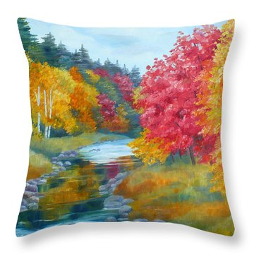 Autumn Blaze With Birch Trees Throw Pillow