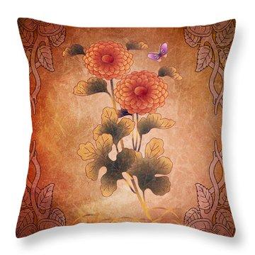 Autumn Blooming Mum Throw Pillow by Bedros Awak