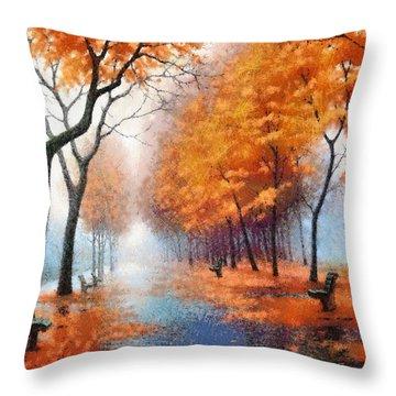 Autumn Boulevard Throw Pillow