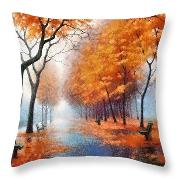 Autumn Boulevard Throw Pillow