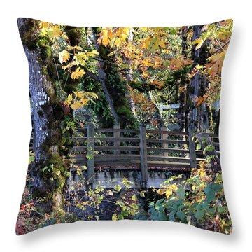Throw Pillow featuring the photograph Autumn Bridge by Erica Hanel