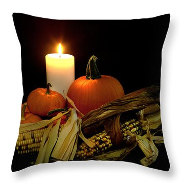 Autumn By Candle Light Throw Pillow by Cecil Fuselier