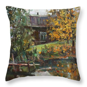 Autumn By The Pond Throw Pillow