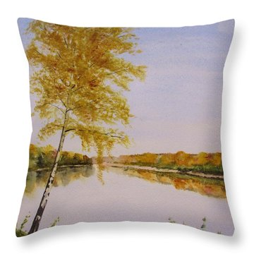 Throw Pillow featuring the painting Autumn By The River by Martin Howard