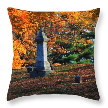 Autumn Cemetery Visit Throw Pillow
