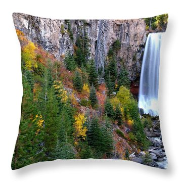 Throw Pillow featuring the photograph Autumn Colors Surround Tumalo Falls by Kevin Desrosiers