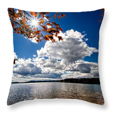 Throw Pillow featuring the photograph Autumn  Confidential  by Bob Orsillo