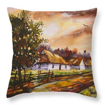 Autumn Cottages Throw Pillow