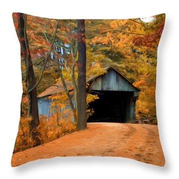 Autumn Covered Bridge Throw Pillow by Joann Vitali
