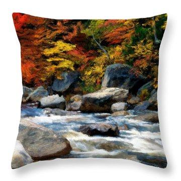 Throw Pillow featuring the painting Autumn Creek by Bruce Nutting