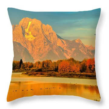Autumn Dawn At Oxbow Bend Throw Pillow by Greg Norrell