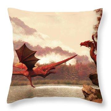 Autumn Dragons Throw Pillow
