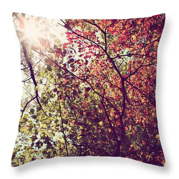 Throw Pillow featuring the photograph Autumn Dresses In Flame And Gold by Kim Fearheiley