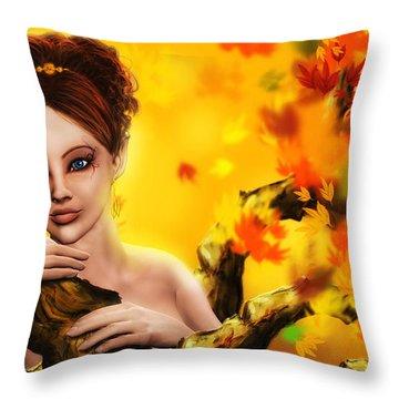 Autumn Elf Princess Throw Pillow