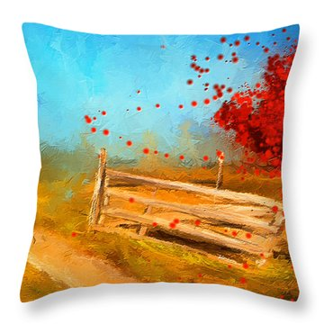 Autumn Farm- Autumn Impressionism Oil Palette Knife Painting Throw Pillow