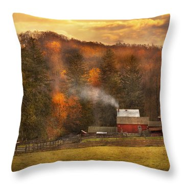 Autumn - Farm - Morristown Nj - Charming Farming Throw Pillow by Mike Savad