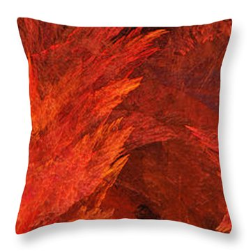 Autumn Fire Abstract Pano 2 Throw Pillow by Andee Design