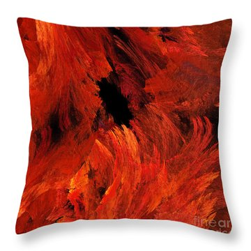 Autumn Fire Abstract Square Throw Pillow by Andee Design
