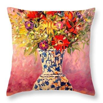 Autumn Flowers Throw Pillow by Ana Maria Edulescu