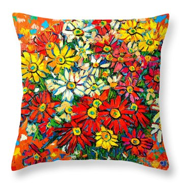 Autumn Flowers Colorful Daisies  Throw Pillow by Ana Maria Edulescu